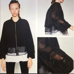 Zara Sport Contrast Mesh Zip Up Jacket